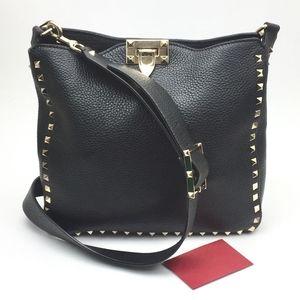 VALENTINO Small Rockstud Leather Hobo